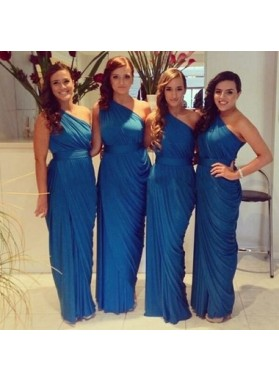 Royal Blue Column Ruffle One Shoulder Chiffon Long Bridesmaid Dresses / Gowns