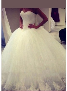 Sweetheart Appliques Ball Gown Court Train Ivory Wedding Gowns / Dresses