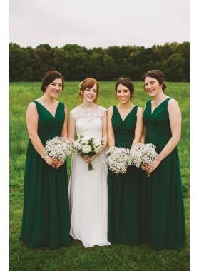 2021 New Arrival A Line Chiffon Dark Green Long V Neck Cheap Bridesmaid Dresses / Gowns