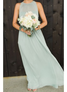 2019 New Arrival A Line Chiffon Halter Sage Floor Length Cheap Long Bridesmaid Dresses / Gowns