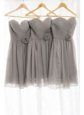 2021 New Arrival A Line Chiffon Knee Length Silver Short Bridesmaid Dresses / Gowns