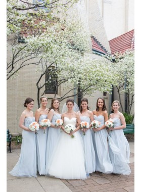 2021 New Arrival A Line Chiffon Light Sky Blue Strapless Long Bridesmaid Dresses / Gowns