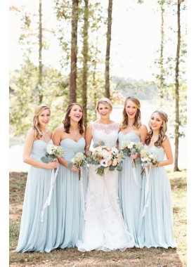 2019 New Arrival A Line Sweetheart Light Sky Blue Chiffon Long Bridesmaid Dresses / Gowns
