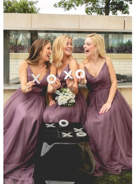 2021 New Arrival A Line Tulle Deep V Light Purple Long Bridesmaid Dresses / Gowns With Straps