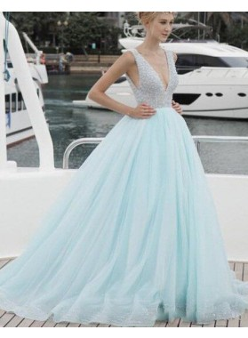LadyPromDress 2019 Blue Beading Deep V-Neck Ball Gown Tulle Prom Dresses