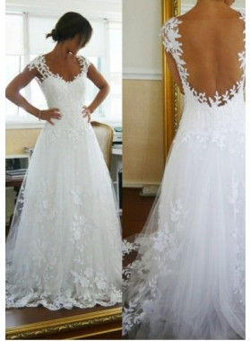 2021 Backless Lace Wedding Dresses / Gowns