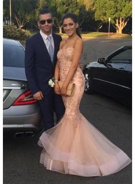 Elegant Appliques Mermaid/Trumpet Tulle Prom Dresses