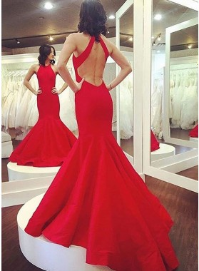 2019 Siren Mermaid/Trumpet Red Satin Backless Prom Dresses