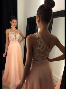2021 Cheap Chiffon Princess/A-Line Peach One Shoulder Prom Dresses