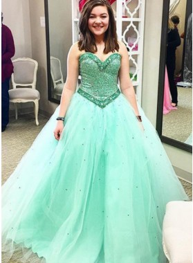 Mint Green Tulle Sweetheart Ball Gown Prom Dresses