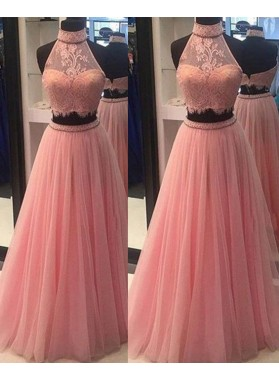 2020 Charming Princess/A-Line High Neck Two Pieces Tulle Prom Dresses