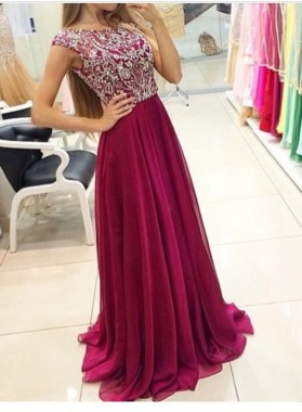 New Princess/A-Line Chiffon Burgundy Beaded Prom Dresses