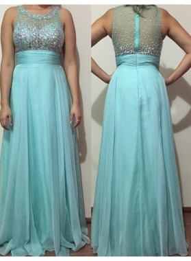 2019 Cheap Princess/A-Line Blue Beaded Prom Dresses