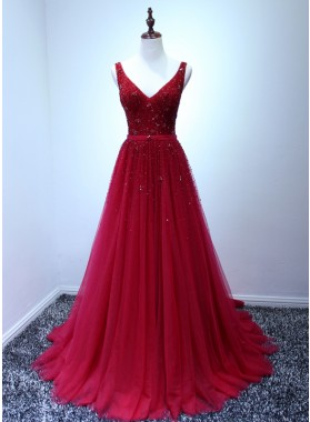 2019 Charming Princess/A-Line Tulle V-neck Beaded Burgundy Prom Dresses