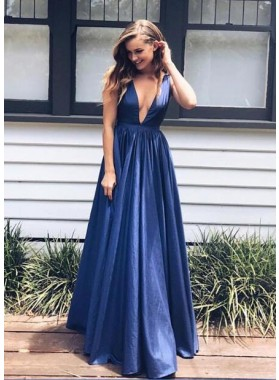 2020 Siren Princess/A-Line Deep V Navy Blue Prom Dresses