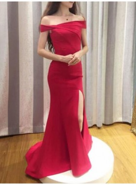 2019 Siren Red Column/Sheath Satin Off The Shoulder Prom Dresses