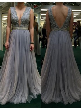 2019 Charming Princess/A-Line Tulle Backless Prom Dresses Light Slate Grey