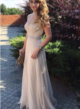2019 Cheap Princess/A-Line Champagne Chiffon Beaded Prom Dresses