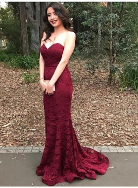 2019 Sexy Mermaid/Trumpet Burgundy Lace Sweetheart Prom Dresses