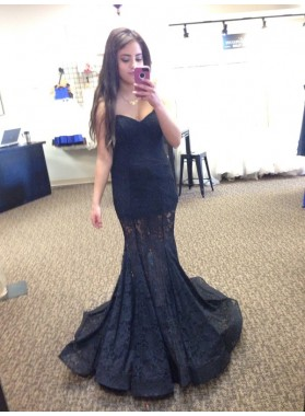 2020 Siren Black Sweetheart Lace Prom Dresses