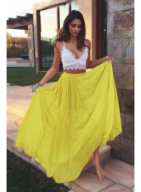 Two Pieces White And Yellow Prom Dresses