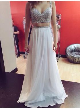 Princess/A-Line White Two Pieces Prom Dresses