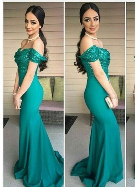 2021 Sexy Mermaid/Trumpet Teal Satin Prom Dresses