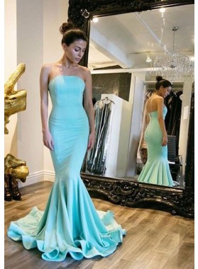 Satin Mermaid/Trumpet Strapless Prom Dresses