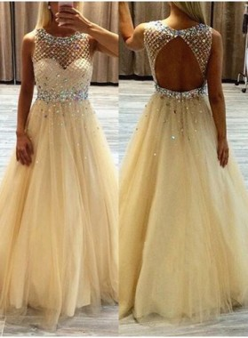 Champagne Tulle Princess/A-Line Backless Beaded Prom Dresses