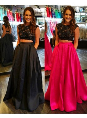 2019 Cheap Princess/A-Line Satin Black Two Pieces Prom Dresses