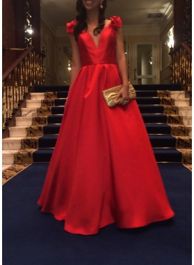 Red Satin Princess/A-Line 2019 Cheap Prom Dresses