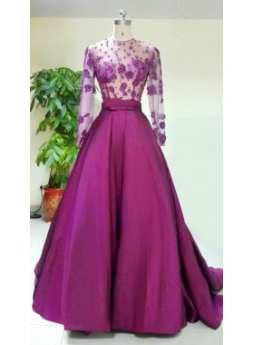 Princess/A-Line Fuchsia Long Sleeves Satin Prom Dresses