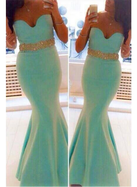 2019 Siren Mermaid/Trumpet Sweetheart Mint Green Prom Dresses