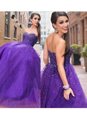 2019 Charming Ball Gown Sweetheart Purple Prom Dresses