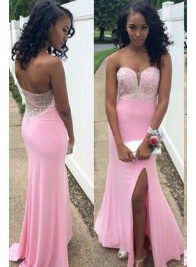 Pink Sweetheart Satin Side Slit Prom Dresses
