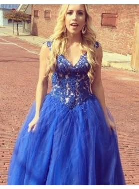 Royal Blue Ball Gown V-neck Tulle Prom Dresses