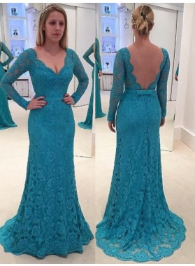New Arrival Column/Sheath V-neck Long Sleeves Lace Prom Dresses