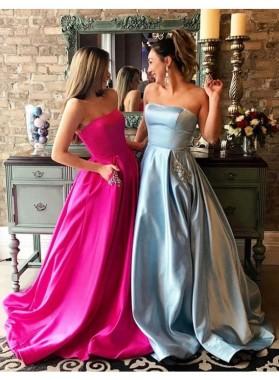 Strapless Princess/A-Line Satin Fuchsia Prom Dresses