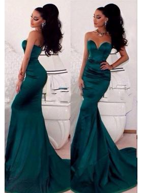 2019 Sexy Mermaid/Trumpet Sweetheart Satin Teal Prom Dresses