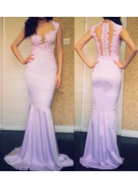 Mermaid/Trumpet Lilac Satin Prom Dresses With Appliques