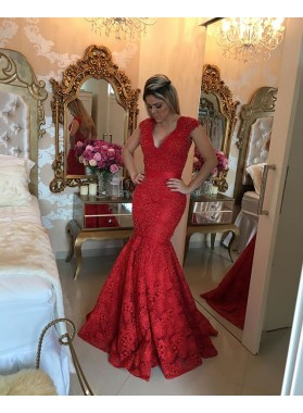 Mermaid/Trumpet Red Lace Prom Dresses With Beaded