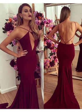 2019 Siren Mermaid/Trumpet Burgundy Backless Prom Dresses