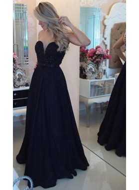 2019 Charming Princess/A-Line Black Satin Sweetheart Prom Dresses