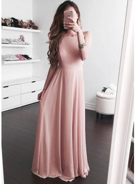 2020 Cheap Princess/A-Line Chiffon Blushing Pink Prom Dresses