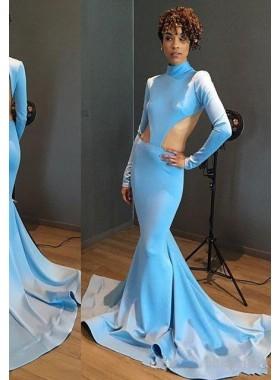 Mermaid/Trumpet Blue Long Sleeves Backless Prom Dresses