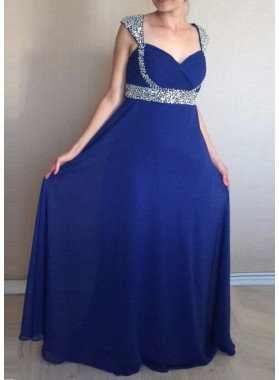 2019 Cheap Princess/A-Line Chiffon Royal Blue Sweetheart Prom Dresses