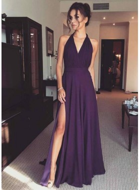 2019 Cheap Princess/A-Line V-neck Grape Prom Dresses