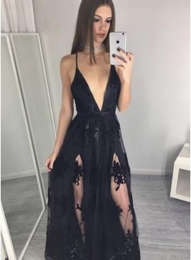 2019 Sexy Black Princess/A-Line Tulle Side Slit Prom Dresses