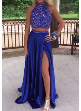 High Neck Satin Side Slit Two Pieces Prom Dresses