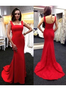 Mermaid/Trumpet Red Satin 2019 Cheap Prom Dresses